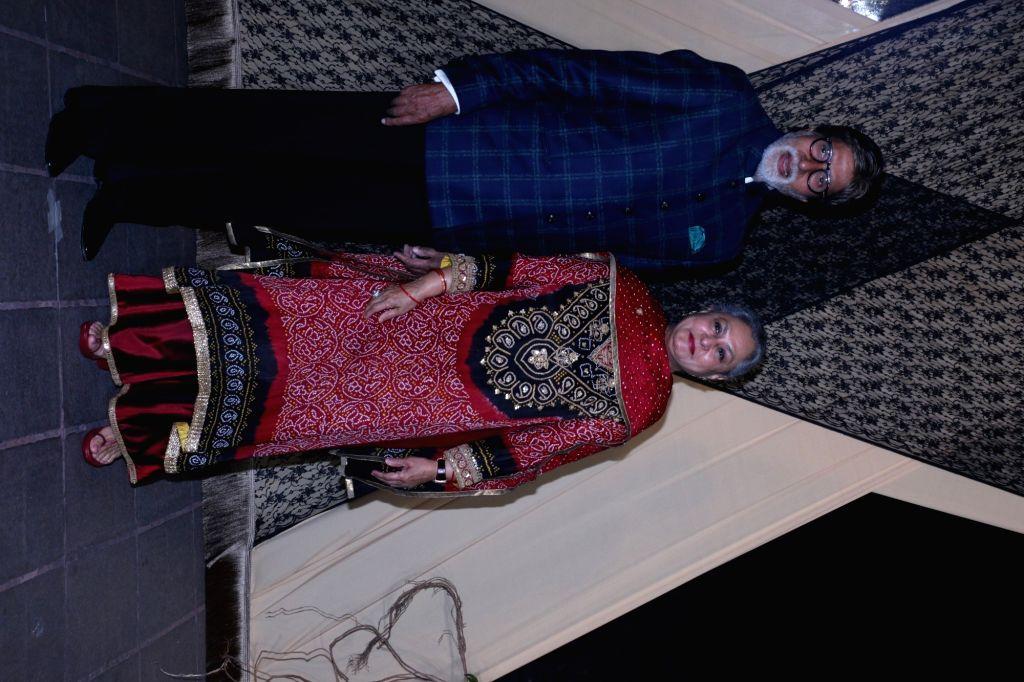 Actors Amitabh Bachchan and Jaya Bachchan at the wedding reception of director Mukesh Bhatt and Nilima Bhatt's daughter Sakshi Bhatt in Mumbai, on 25, 2019. - Mukesh Bhatt, Amitabh Bachchan and Jaya Bachchan