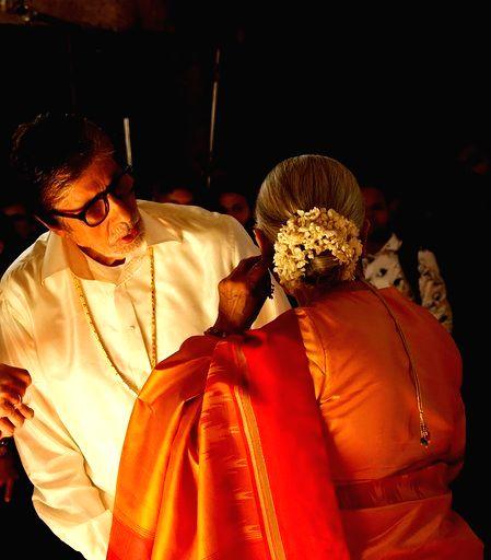 Actors Amitabh Bachchan and Jaya Bachchan during Kalyan Jewellers ad shoot in Mumbai on Jan 24, 2020. - Amitabh Bachchan and Jaya Bachchan
