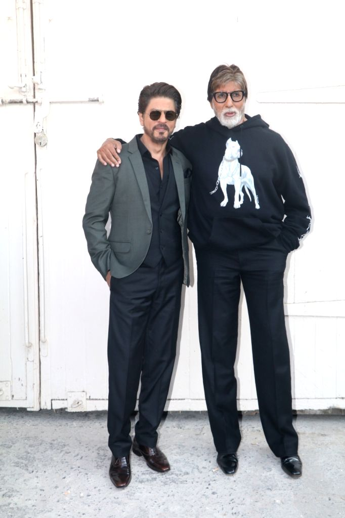 "Actors Amitabh Bachchan and Shah Rukh Khan during the promotion of their upcoming film ""Badla"" in Mumbai on Feb 22, 2019. - Amitabh Bachchan and Shah Rukh Khan"