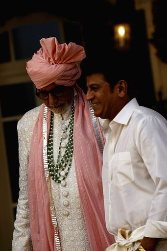 Actors Amitabh Bachchan and Shiva Rajkumar during Kalyan Jewellers ad shoot in Mumbai on Jan 24, 2020. - Amitabh Bachchan and Shiva Rajkumar