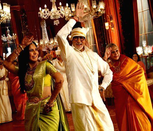 Actors Amitabh Bachchan, Katrina Kaif and Jaya Bachchan during Kalyan Jewellers ad shoot in Mumbai on Jan 24, 2020. - Amitabh Bachchan, Katrina Kaif and Jaya Bachchan