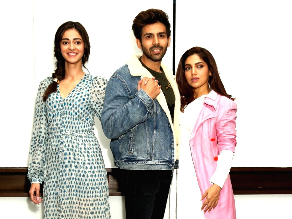 "Actors Ananya Panday, Kartik Aaryan and Bhumi Pednekar during the promotion of their upcoming film ""Pati Patni Aur Woh"" in New Delhi on Dec 5, 2019. - Ananya Panday, Kartik Aaryan and Bhumi Pednekar"