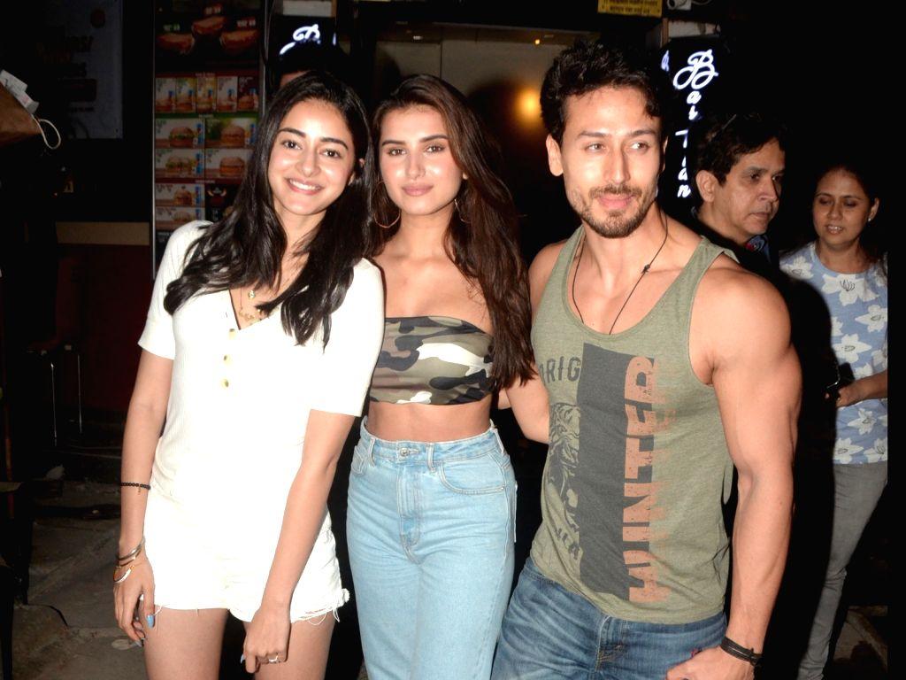 Actors Ananya Pandey, Tiger Shroff and Tara Sutaria seen in Mumbai's Bandra, on May 12, 2019. - Ananya Pandey, Tiger Shroff and Tara Sutaria