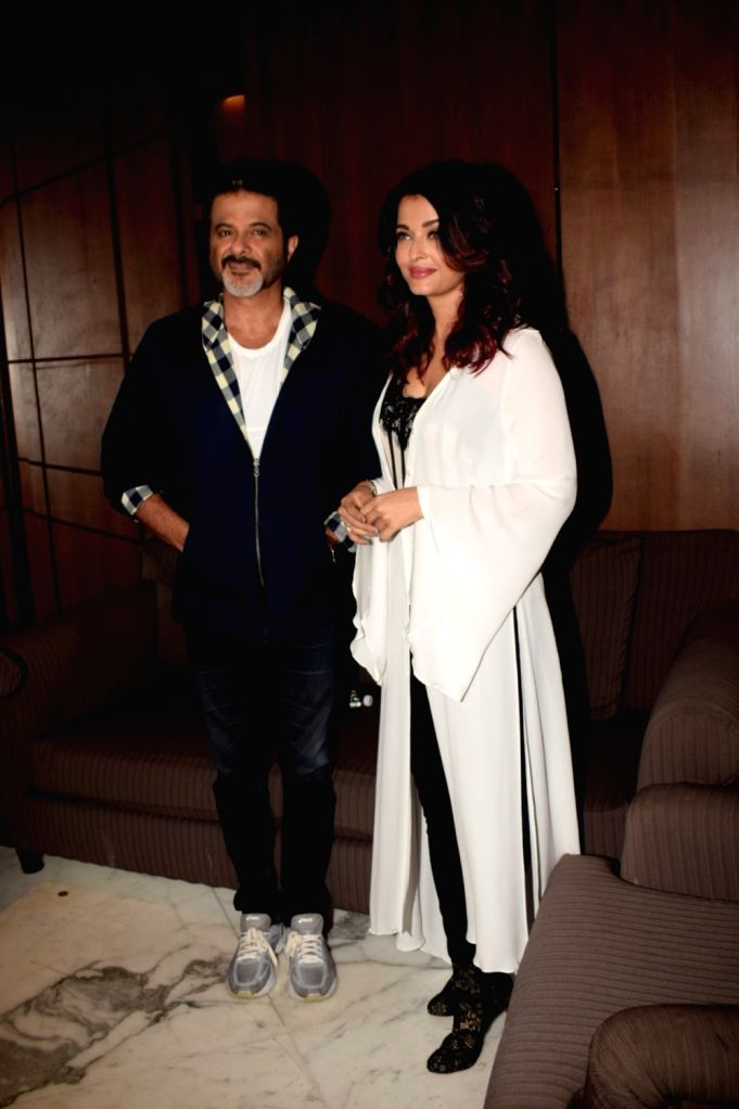 "Actors Anil Kapoor and Aishwarya Rai Bachchan during a media interaction to promote their upcoming film ""Fanney Khan"" in Mumbai on July 31, 2018. - Anil Kapoor, Aishwarya Rai Bachchan and Fanney Khan"