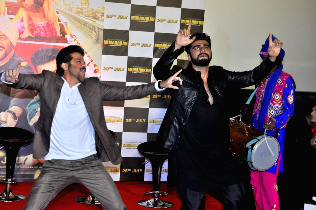 Actors Anil Kapoor and Arjun Kapoor at the trailer launch of upcoming film 'Mubarakan' in Mumbai on June 20, 2017. - Anil Kapoor and Arjun Kapoor