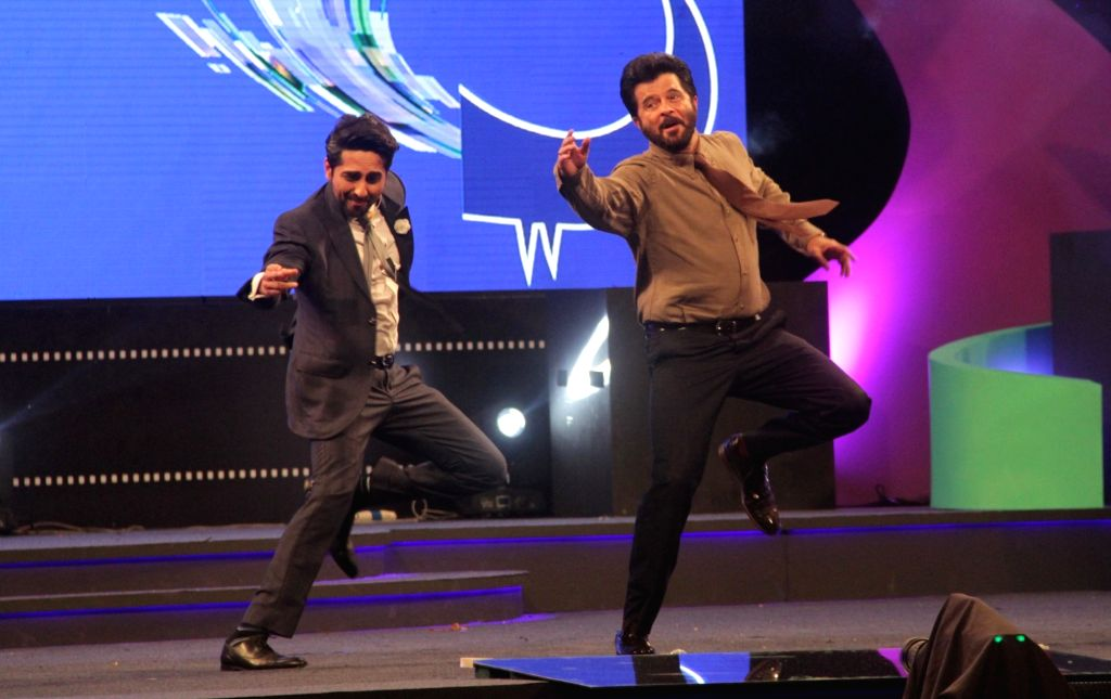 Actors Anil Kapoor and Ayushaman Khurana perform at the inauguration of the 46th International Film Festival of India (IFFI-2015), in Panaji, Goa on Nov 20, 2015. - Anil Kapoor and Ayushaman Khurana