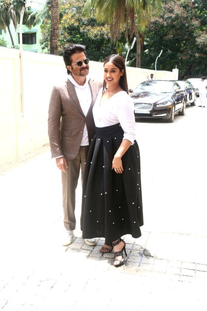 Actors Anil Kapoor and Ileana D'cruz at the trailer launch of upcoming film 'Mubarakan' in Mumbai on June 20, 2017. - Anil Kapoor and Ileana D