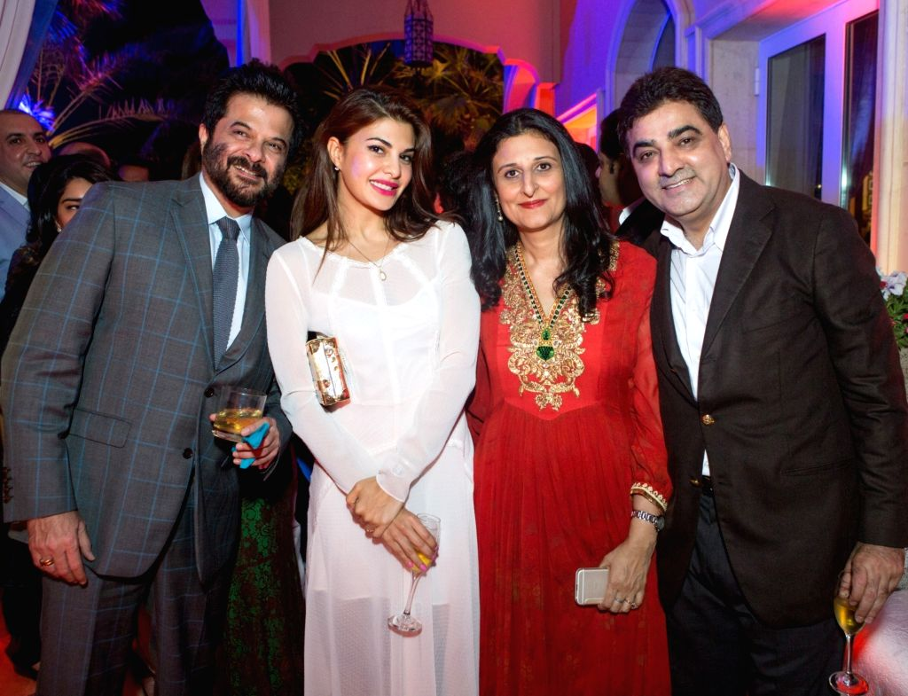 Actors Anil Kapoor and Jacqueline Fernandez during Anil Kapoor`s  59th birthday celebration party hosted by Chairman Channel 2 Group Ajay Sethi in Dubai, on Jan 5 ,2016. - Jacqueline Fernandez