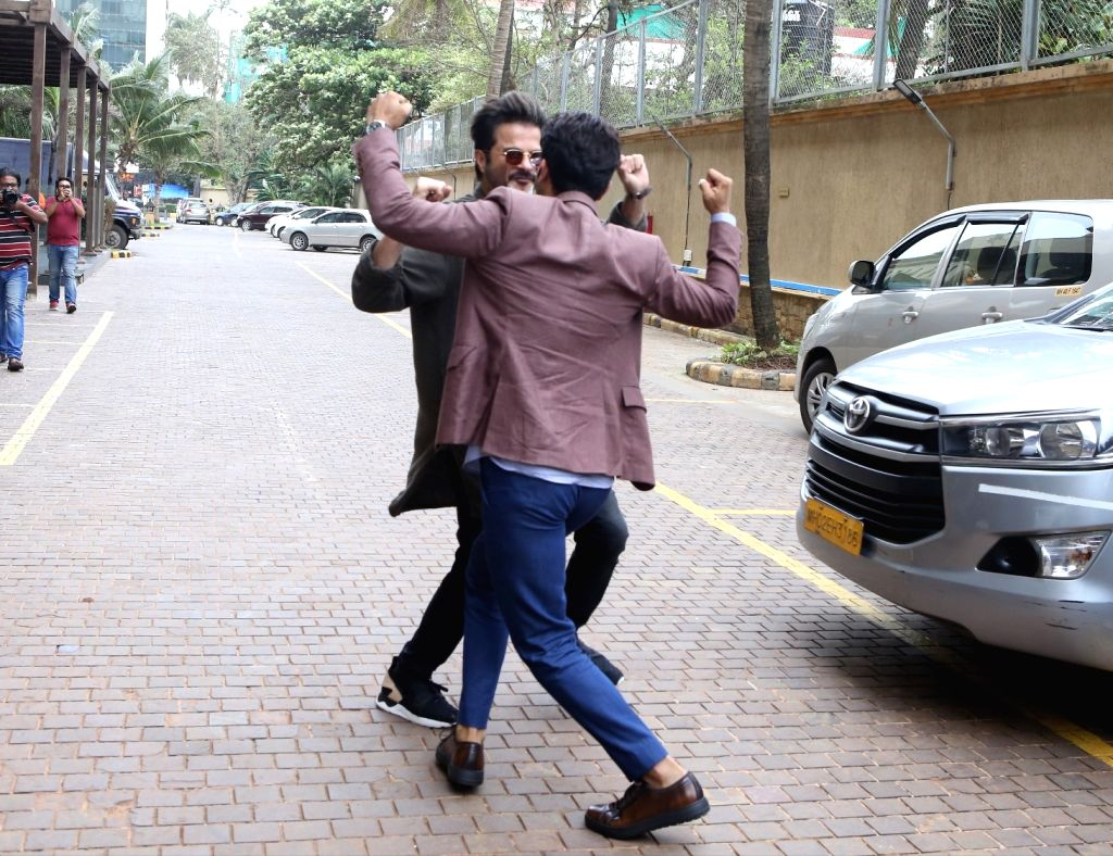 """Actors Anil Kapoor and Rajkummar Rao during a media interaction to promote their upcoming film """"Fanney Khan"""" in Mumbai on July 30, 2018. - Anil Kapoor, Rajkummar Rao and Fanney Khan"""