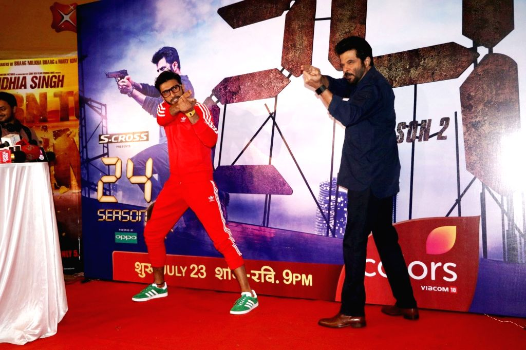 Actors Anil Kapoor and Ranveer Singh during the screening of second season of television series 24, in Mumbai, on July 22, 2016. - Anil Kapoor and Ranveer Singh