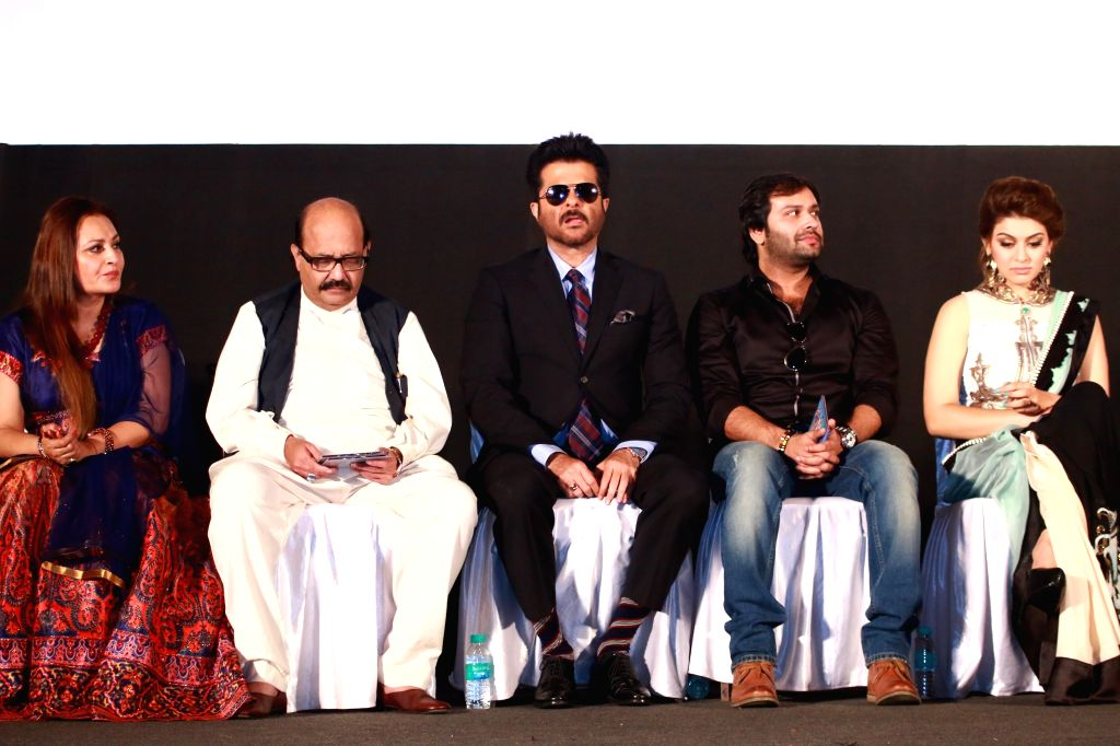 Actors Anil Kapoor, Hansika Motwani, Jaya Prada and Politician Amar Singh during the trailer and audio launch of Telugu film `Uyire Uyire`. - Anil Kapoor, Hansika Motwani, Jaya Prada and Politician Amar Singh