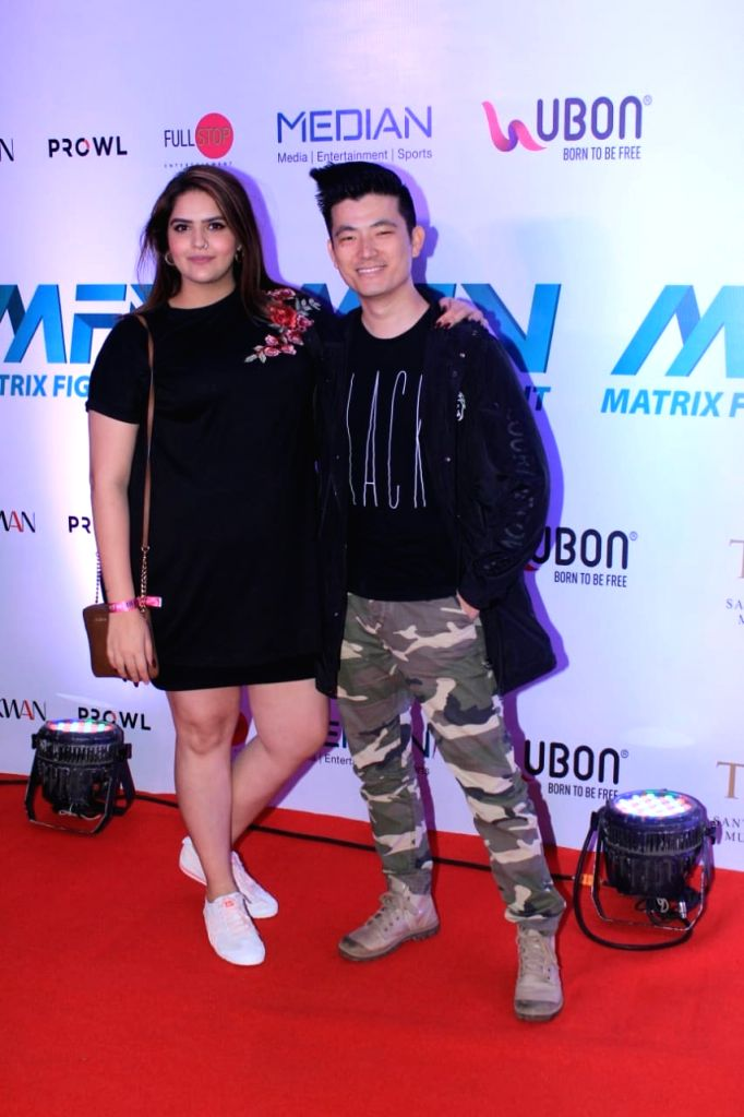 Actors Anjali Anand and Meiyang Chang at Matrix Fight Night Red Carpet in Mumbai, on March 12, 2019. - Anjali Anand and Meiyang Chang