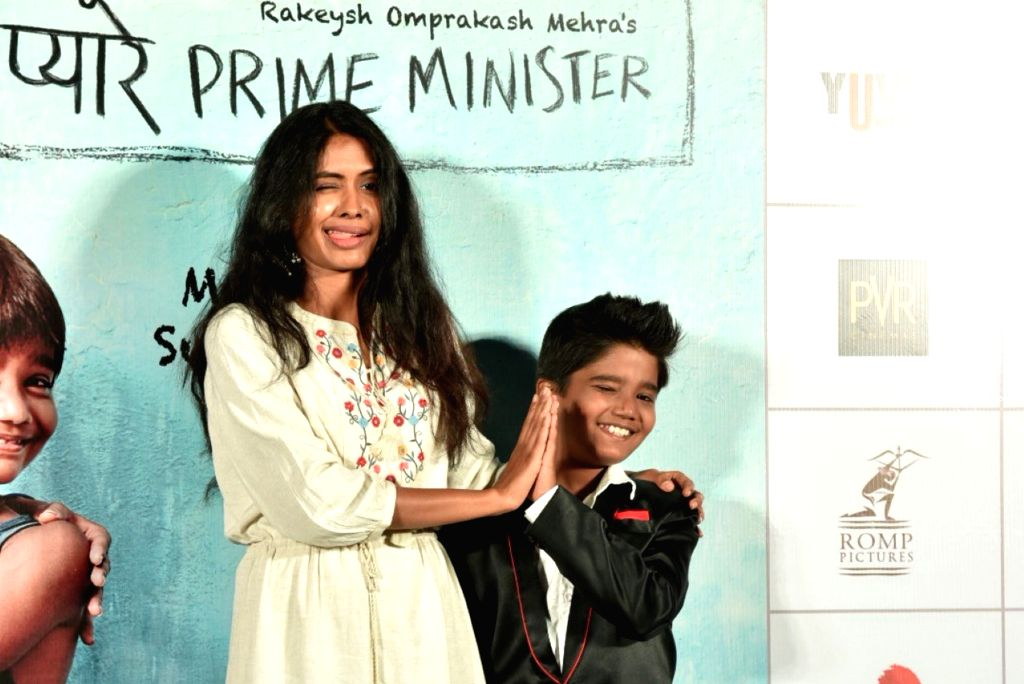 "Actors Anjali Patil and Om Kanojia at the trailer launch of upcoming film ""Mere Pyare Prime Minister"", in Mumbai on Feb. 10, 2019. - Anjali Patil and O"