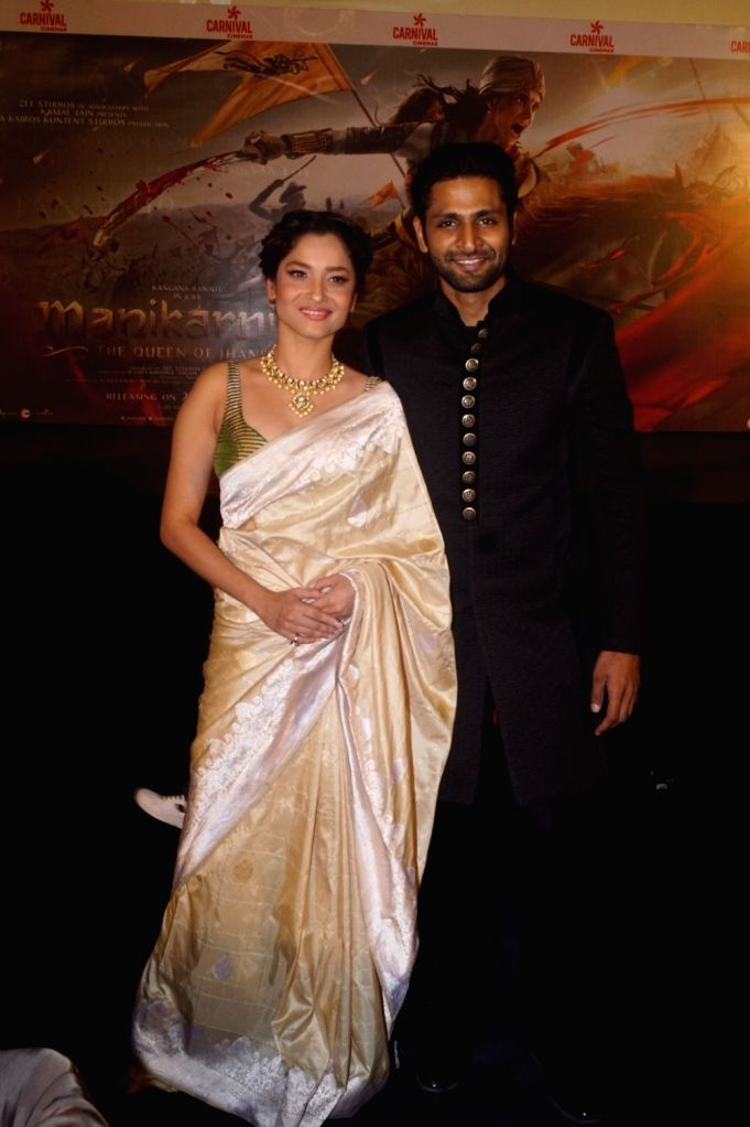 "Actors Ankita Lokhande and Vaibhav Tatwawaadi at the trailer launch of their upcoming film ""Manikarnika: The Queen of Jhansi"" in Mumbai on Dec 18, 2018. - Ankita Lokhande and Vaibhav Tatwawaadi"