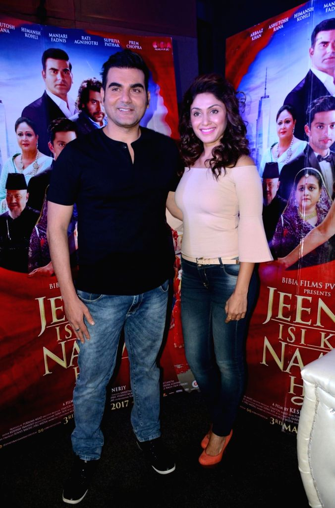 """Actors Arbaaz Khan and Manjari Phadnis during a press conference to promote their upcoming film """"Jeena Isi Ka Naam Hai"""" in Lucknow on March 1, 2017. - Arbaaz Khan and Manjari Phadnis"""