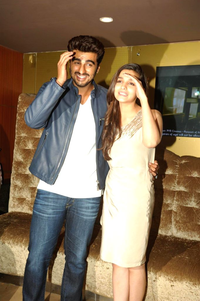 Actors Arjun Kapoor and Alia Bhatt during the promotion of film 2 States at PVR Cinemas in Mumbai on April 18, 2014. - Arjun Kapoor and Alia Bhatt