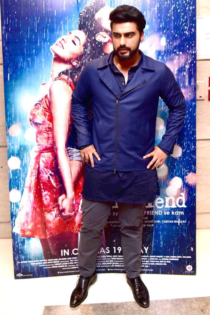"""Actors Arjun Kapoor and Shraddha Kapoor at a press meet for film """"Half Girlfriend"""" in New Delhi on May 12, 2017. - Arjun Kapoor and Shraddha Kapoor"""