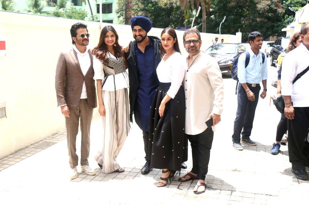 Actors Arjun Kapoor, Athiya Shetty, Anil Kapoor and Ileana D'cruz at the trailer launch of upcoming film 'Mubarakan' in Mumbai on June 20, 2017. - Arjun Kapoor, Athiya Shetty, Anil Kapoor and Ileana D