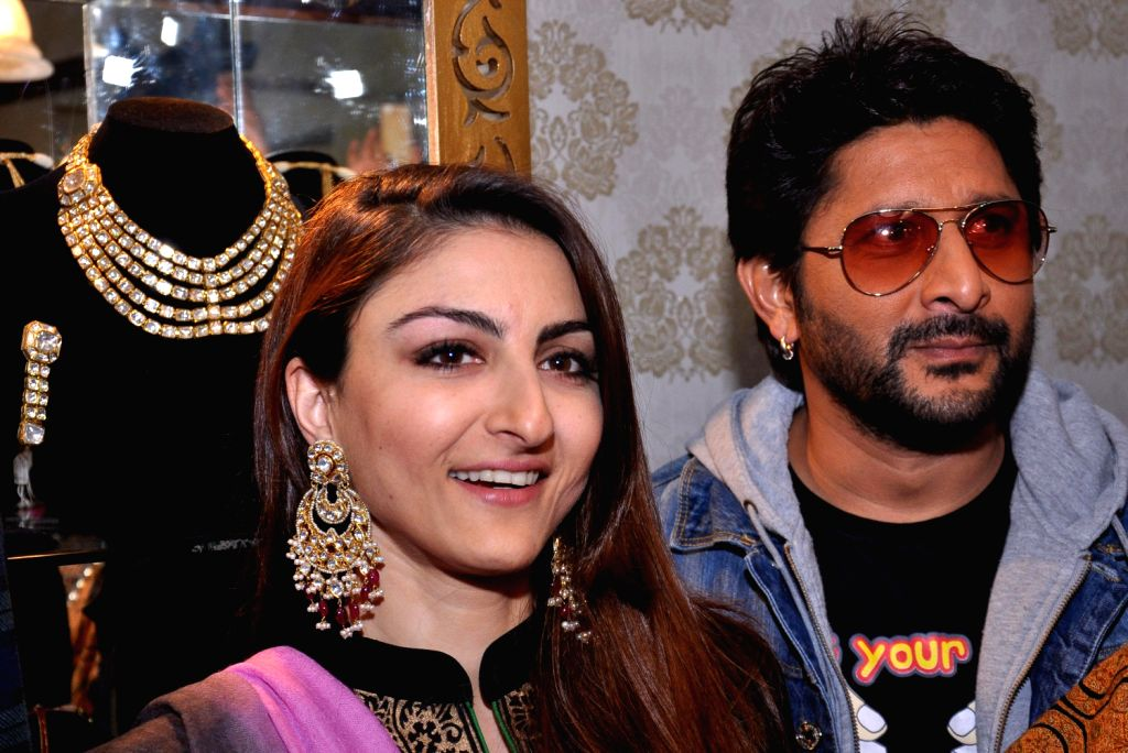 Actors Arshad Warsi and Soha Ali Khan during their visit to 11th Jaipur Jewellery Show in Jaipur on Dec.22, 2013.