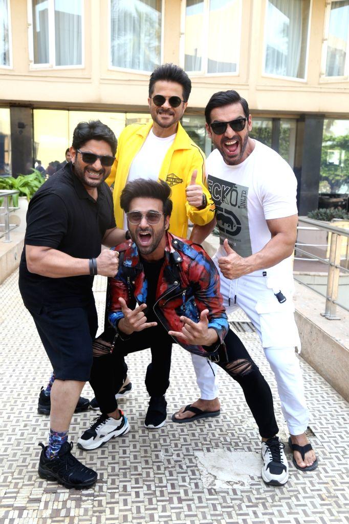"Actors Arshad Warsi, Anil Kapoor, Pulkit Samrat and John Abraham during the promotions of their upcoming film ""Pagalpanti"" in Mumbai on Nov 14, 2019. - Arshad Warsi, Anil Kapoor, Pulkit Samrat and John Abraham"
