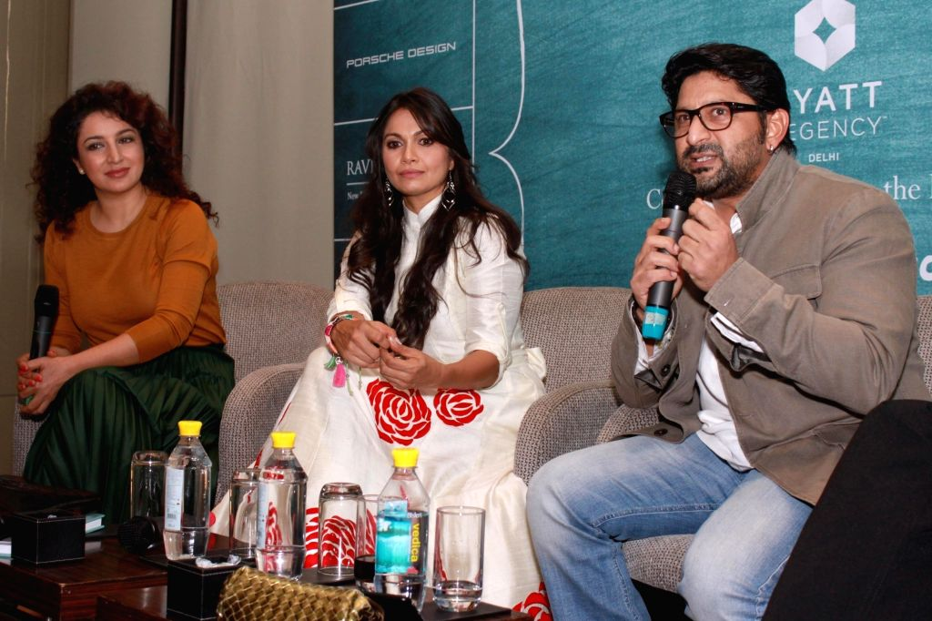 Actors Arshad Warsi with wife Maria Goretti and Tisca Chopra at the launch of Maria Goretti`s book `From My Kitchen` in New Delhi on Nov 15, 2015. - Arshad Warsi and Tisca Chopra