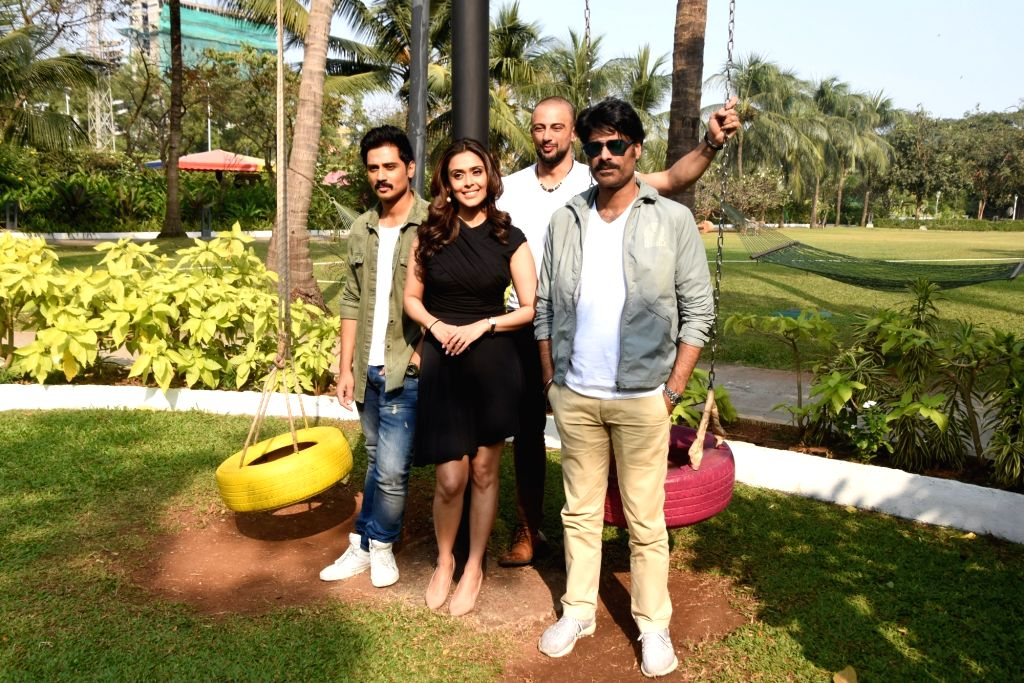 """Actors Arunoday Singh, Sikander Kher, Shiv Panditt and Hrishitaa Bhatt at the media interactions for their upcoming web series """"The Chargesheet: Innocent or Guilty?"""" in Mumbai on ... - Arunoday Singh, Sikander Kher, Shiv Panditt and Hrishitaa Bhatt"""