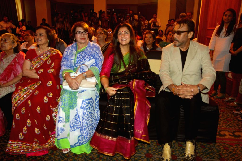 Actors Asha Parekh, Helen, Dimple Kapadia and Jackie Shroff during unveiling of hand impression of Veteran actress Asha Parekh as a tribute to her contribution to the film industry in Mumbai on ... - Helen, Dimple Kapadia and Jackie Shroff
