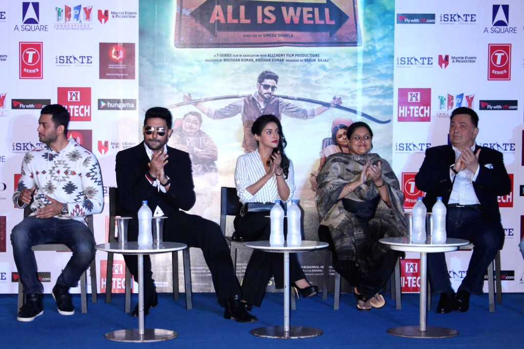 Actors Asin, Abhishek Bachchan, Supriya Pathak and Rishi Kapoor during a press conference to promote their upcoming film `All is Well` in Gurgaon, on Aug 10, 2015. - Asin, Abhishek Bachchan, Supriya Pathak and Rishi Kapoor