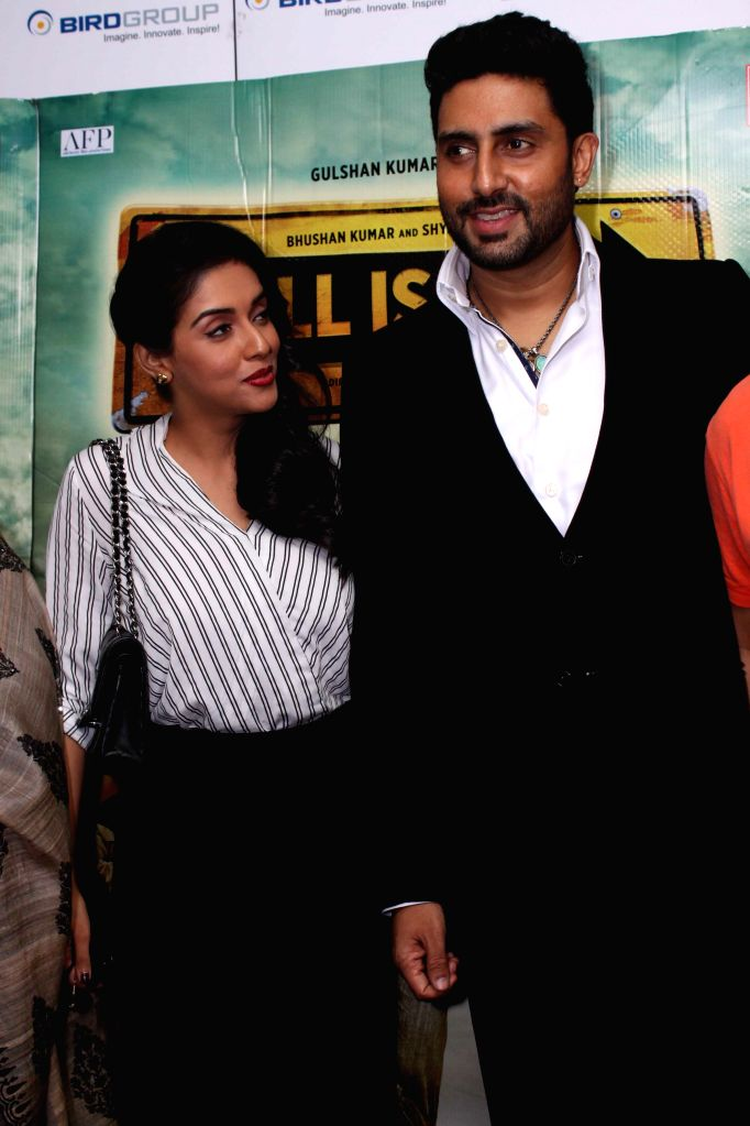 Actors Asin and Abhishek Bachchan during a press conference to promote their upcoming film `All is Well` in Gurgaon, on Aug 10, 2015. - Asin and Abhishek Bachchan