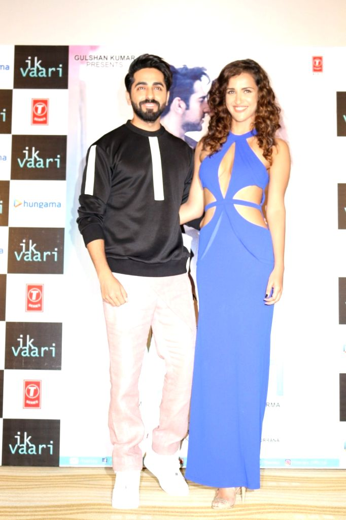 Actors Ayushmann Khurrana and Aisha Sharma during the launch of song `Ik Vaari`, in Mumbai on Sept 22, 2016. - Ayushmann Khurrana and Aisha Sharma