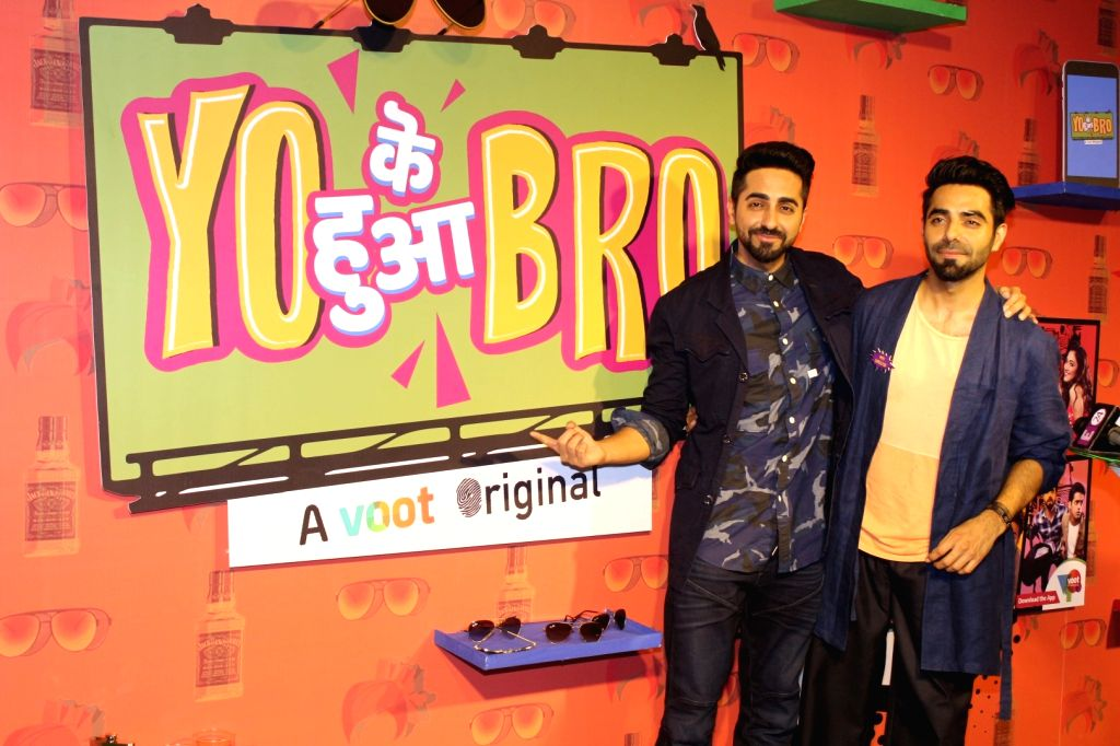 "Actors Ayushmann Khurrana and Aparshakti Khurana during the special screening of  web-series ""Yo Ke Hua Bro"" in Mumbai on Aug 16, 2017. - Ayushmann Khurrana and Aparshakti Khurana"