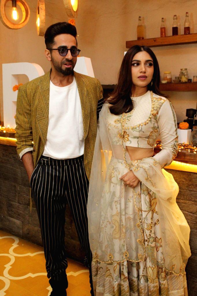 "Actors Ayushmann Khurrana and Bhumi Pednekar at Diwali brunch during the promotions of their upcoming film ""Bala"" in Mumbai on Oct 25, 2019. - Ayushmann Khurrana and Bhumi Pednekar"