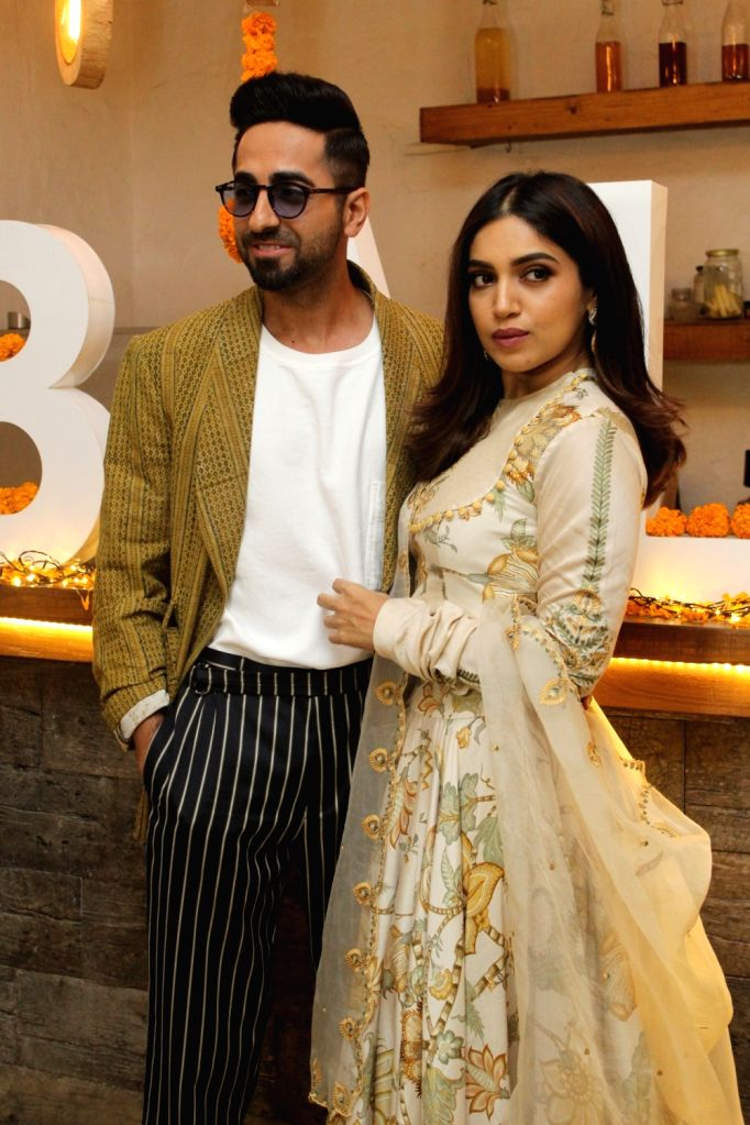 "Actors Ayushmann Khurrana and Bhumi Pednekar at Diwali brunch during the promotions of their upcoming film ""Bala"" in Mumbai on Oct 25, 2019. - Ayushmann Khurrana and Bhumi Pednekar"