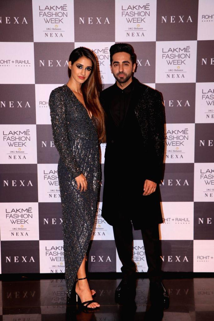 Actors Ayushmann Khurrana and Disha Patani at the Lakme Fashion Week Winter/Festive 2019 in Mumbai on Aug 24, 2019. - Ayushmann Khurrana and Disha Patani
