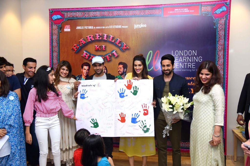 "Actors Ayushmann Khurrana, Kriti Sanon and Rajkummar Rao during the promotion of their upcoming film ""Bareilly Ki Barfi"" in New Delhi on Aug 5, 2017. - Ayushmann Khurrana, Kriti Sanon and Rajkummar Rao"