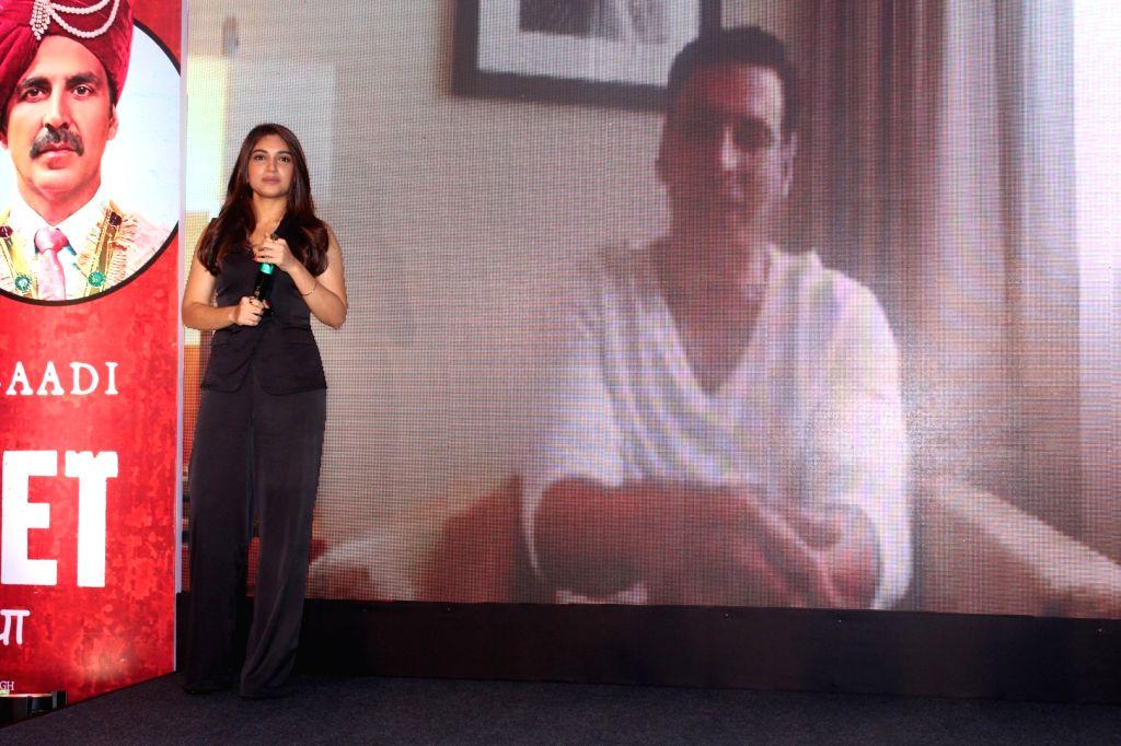"Actors Bhumi Pednekar and Akshay Kumar during the success press conference of the film ""Toilet: Ek Prem Katha"" in Mumbai on Aug 18, 2017. - Bhumi Pednekar and Akshay Kumar"