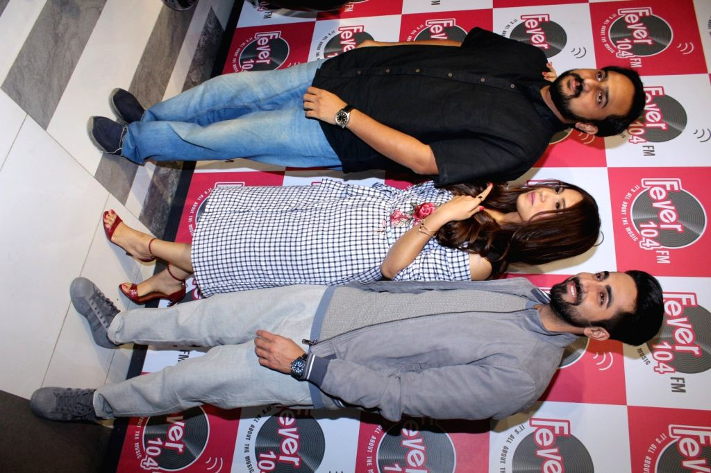 "Actors Bhumi Pednekar and Ayushmann Khurrana along with ""Shubh Mangal Savdhan"" director R.S. Prasanna during the promotion of the song 'Kanha' from their upcoming film ""Shubh ... - R., Bhumi Pednekar and Ayushmann Khurrana"
