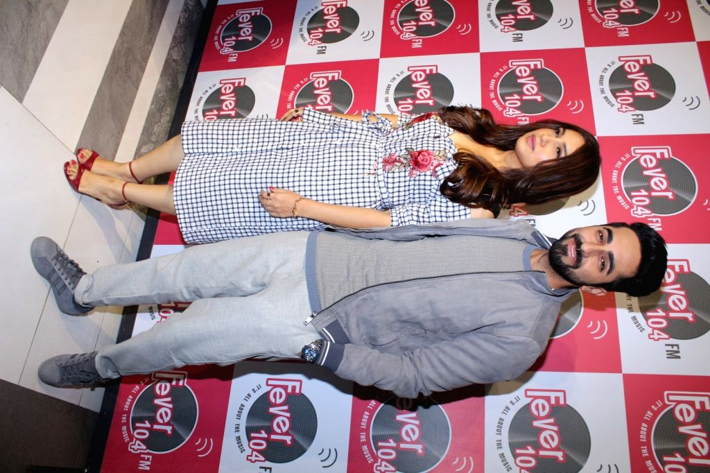 "Actors Bhumi Pednekar and Ayushmann Khurrana during the promotion of the song 'Kanha' from their upcoming film ""Shubh Mangal Savdhan"" at Fever 104 FM station in Mumbai on Aug 17, ... - Bhumi Pednekar and Ayushmann Khurrana"