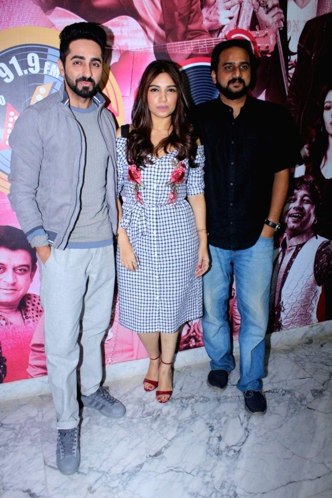 "Actors Bhumi Pednekar and Ayushmann Khurrana along with ""Shubh Mangal Savdhan"" director R.S. Prasanna during the promotion of the song 'Kanha' from their upcoming film ""Shubh ... - R., Bhumi Pednekar and Ayushmann Khurrana"