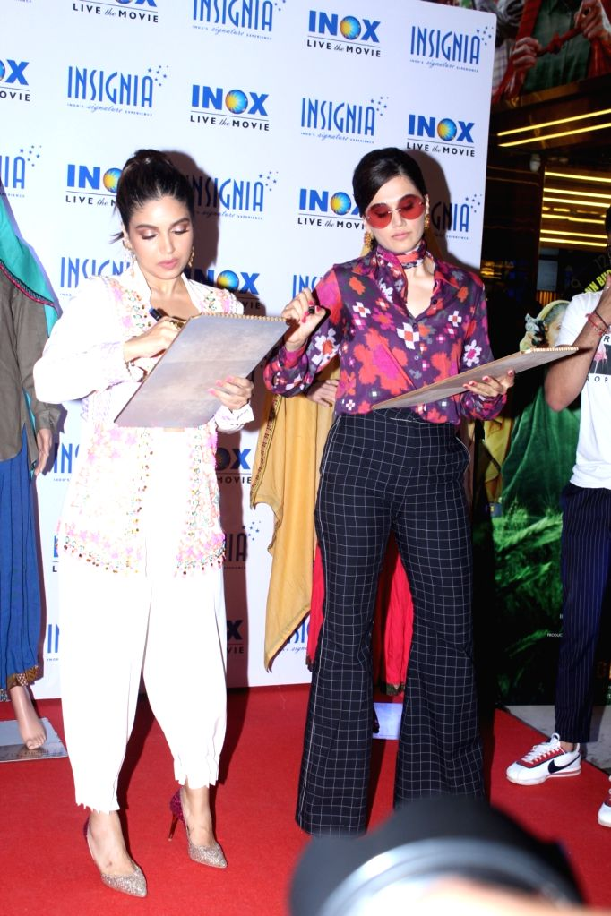 "Actors Bhumi Pednekar??? and ???Taapsee Pannu at the trailer launch of their upcoming film ""Saand Ki Aankh"" in Mumbai on Sep 23, 2019. - Bhumi Pednekar"