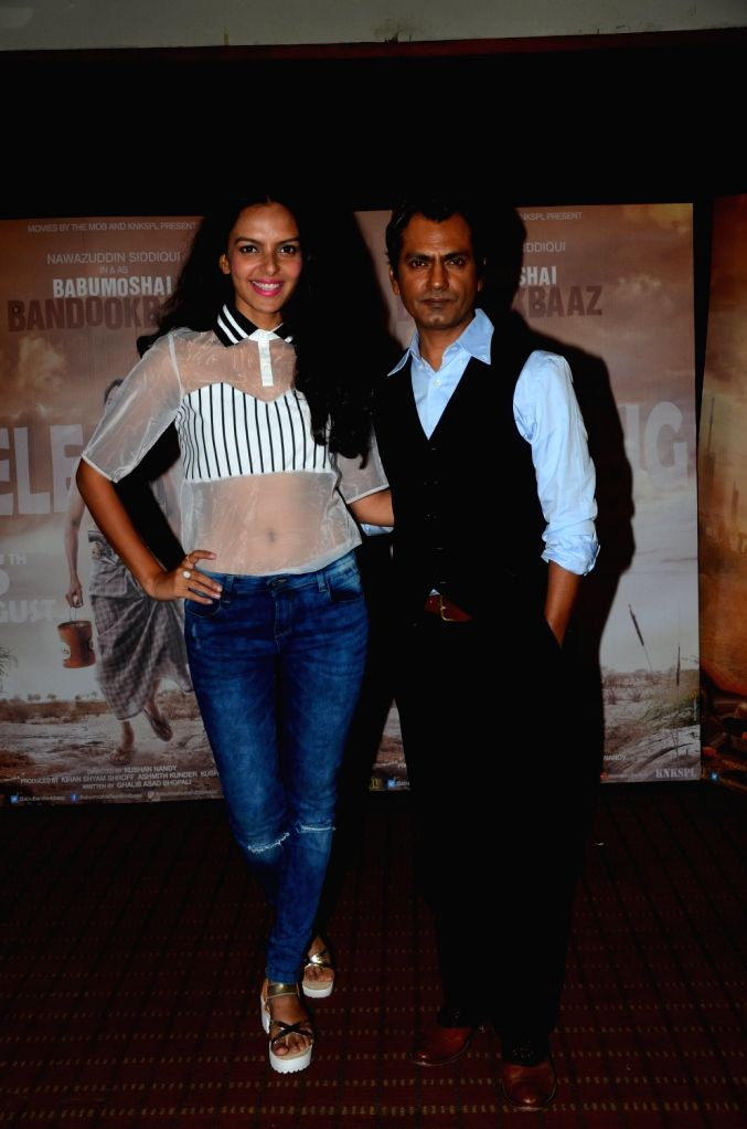 "Actors Bidita Bag and Nawazuddin Siddiqui during the promotion of their upcoming film ""Babumoshai Bandookbaaz"" in Mumbai on Aug 10, 2017. - Bidita Bag and Nawazuddin Siddiqui"