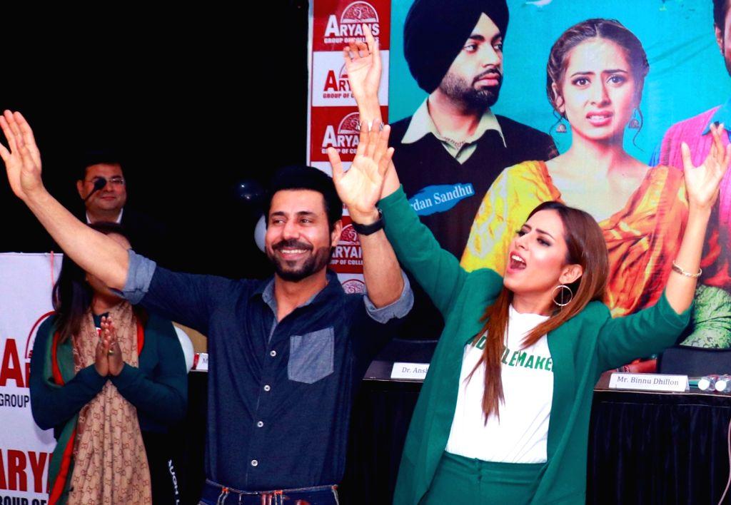 Actors Binnu Dhillon and Sargun Mehta during the promotion of their upcoming Punjabi film 'Kala Shah Kala' in Mohali, Punjab, on Feb 13, 2019. - Binnu Dhillon, Sargun Mehta and Kala Shah Kala