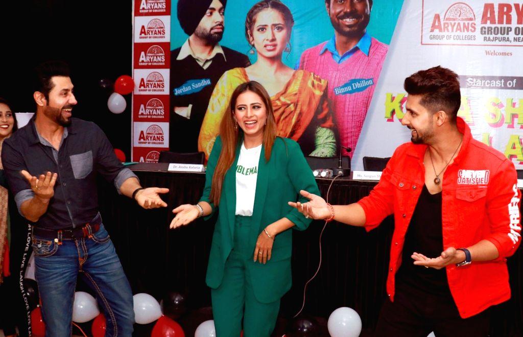 Actors Binnu Dhillon, Sargun Mehta and Ravi Dubey during the promotion of their upcoming Punjabi film 'Kala Shah Kala' in Mohali, Punjab, on Feb 13, 2019. - Binnu Dhillon, Sargun Mehta, Ravi Dubey and Kala Shah Kala