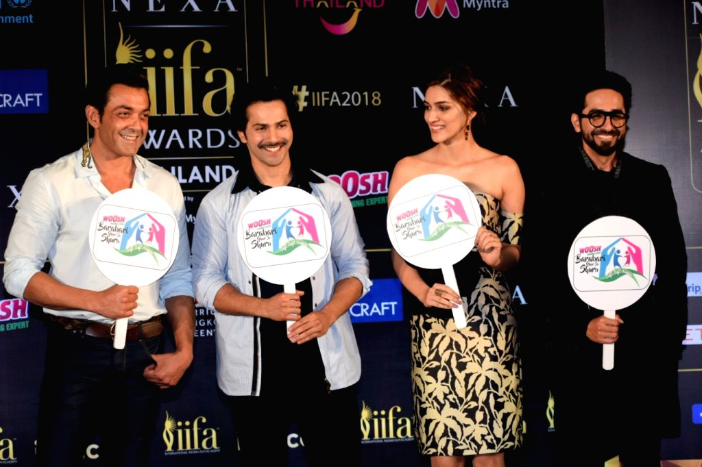 Actors Bobby Deol, Varun Dhawan, Kriti Sanon and Ayushmann Khurrana during a press conference of the 19thEdition of IIFA in Mumbai on June 12, 2018. - Bobby Deol, Varun Dhawan, Kriti Sanon and Ayushmann Khurrana