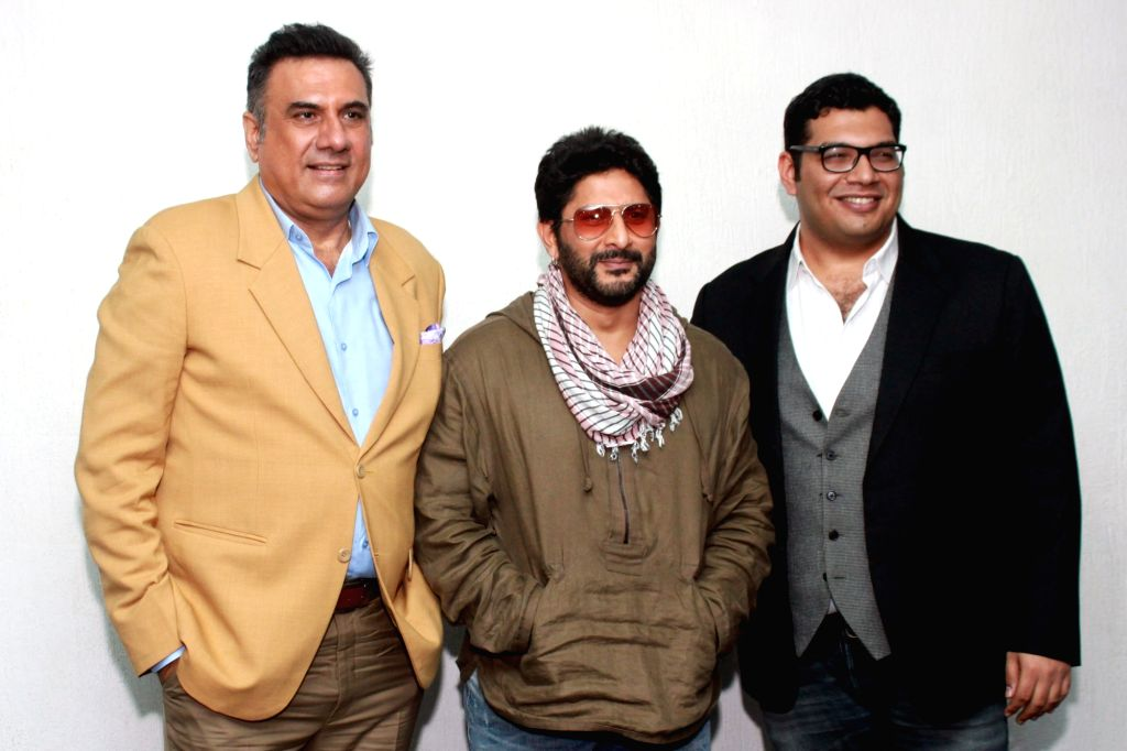 Actors Boman Irani, Arshad Warsi and Kayoze Irani during the promotion of their upcoming film 'The Legend of Michael Mishra' in Noida on Aug 1, 2016. - Boman Irani, Arshad Warsi, Kayoze Irani and Mishra