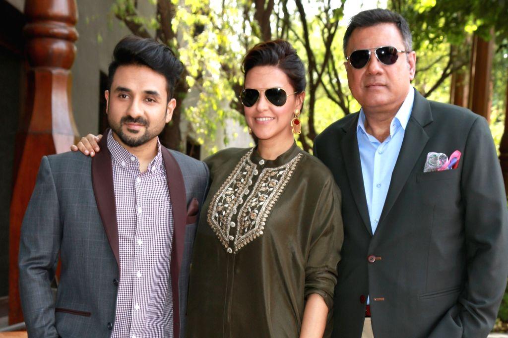 "Actors Boman Irani, Neha Dhupia and Vir Das during a press conference to promote their upcoming film ""Santa Banta Pvt. Ltd"" in New Delhi on April 20, 2016. - Boman Irani, Neha Dhupia and Vir Das"