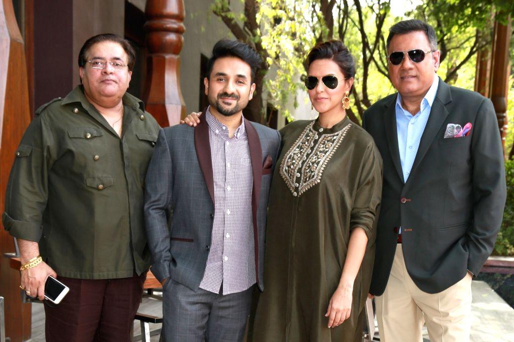 """Actors Boman Irani, Neha Dhupia, Vir Das and producer Akashdeep Sabir during a press conference to promote their upcoming film """"Santa Banta Pvt. Ltd"""" in New Delhi on April 20, ... - Boman Irani, Neha Dhupia and Vir Das"""