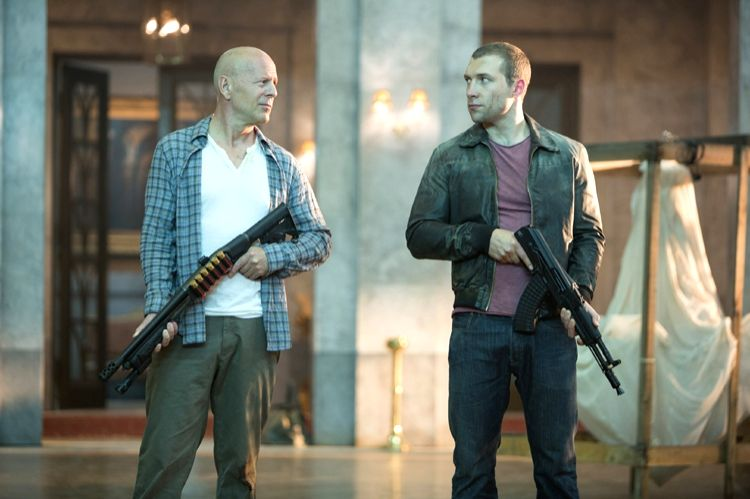"Actors Bruce Willis and Jai Courtney in a still from ""A Good Day To Die Hard"". - Bruce Willis and Jai Courtney"