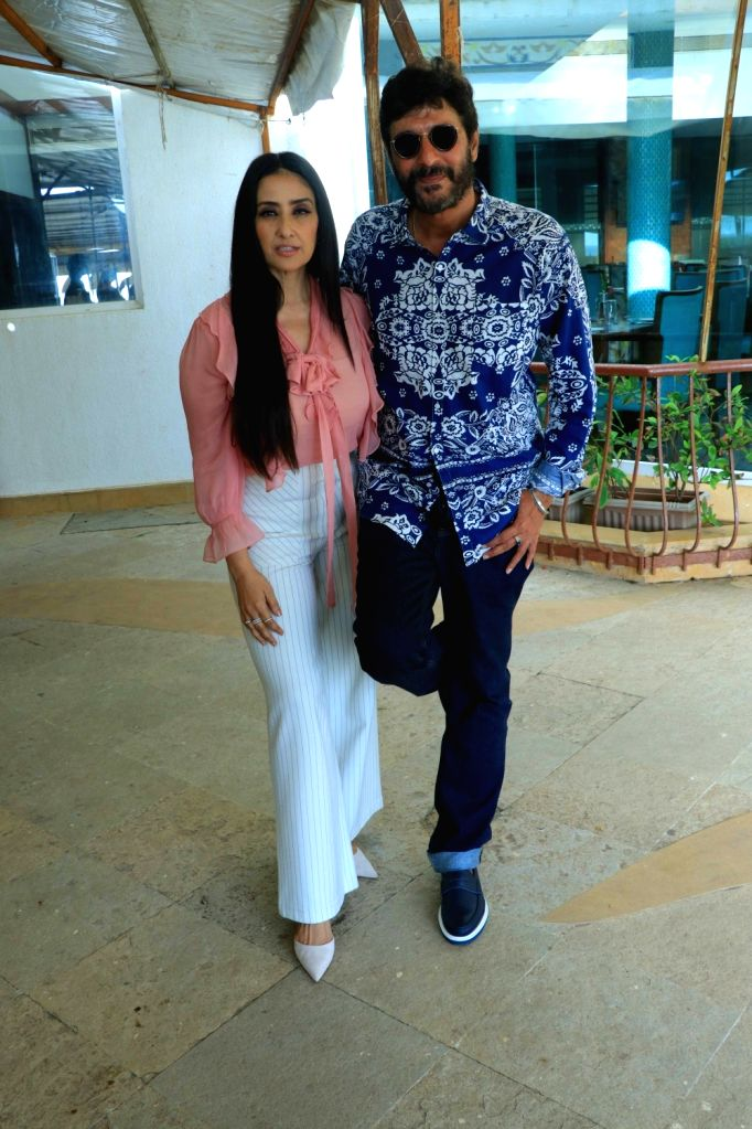 """Actors Chunky Pandey and Manisha Koirala during the promotion of their upcoming film """"Prasthanam"""", in Mumbai, on Aug 26, 2019. - Chunky Pandey and Manisha Koirala"""
