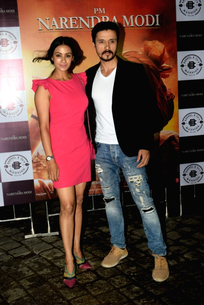 "Actors Darshan Kumar and Barkha Bisht at the success party of their recently released film ""PM Narendra Modi"", in Mumbai, on June 13, 2019. - Darshan Kumar, Barkha Bisht and Narendra Modi"